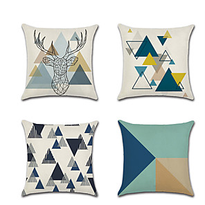 cheap Pillow Covers-4 pcs Linen Pillow Cover Holiday Cartoon  Fashion  Color Block Geometic  Throw Pillow 45*45 cm