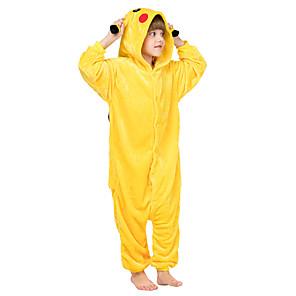 cheap Kigurumi Pajamas-Kid's Kigurumi Pajamas Pika Pika Animal Onesie Pajamas Flannel Toison Yellow / Orange / Green Cosplay For Boys and Girls Animal Sleepwear Cartoon Festival / Holiday Costumes / Leotard / Onesie