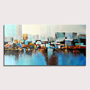 cheap Abstract Paintings-Oil Painting Hand Painted - Abstract Landscape Pop Art Modern Stretched Canvas