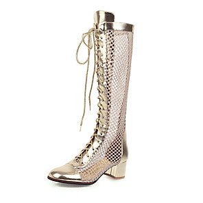 cheap Women's Boots-Women's Boots Mesh Chunky Heel Round Toe Microfiber Mid-Calf Boots Classic / Vintage Spring & Summer Gold / Silver / Party & Evening