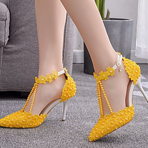 cheap Women's Heels-Women's Heels Glitter Crystal Sequined Jeweled Stiletto Heel Pointed Toe PU Spring & Summer Yellow / Daily / 2-3
