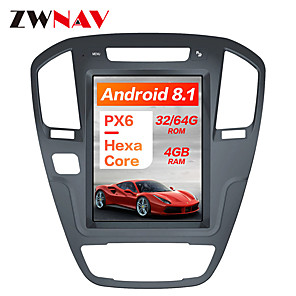 cheap Car DVD Players-ZWNAV 10.4 inch 1Din Android 8.1 Tesla style 4GB 64GB Car GPS Navigation radio tape recorder In-Dash Car DVD Player Car multimedia player For Buick Regal 2008-2013