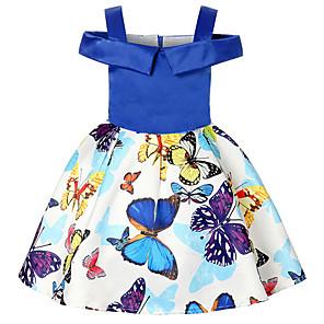 お買い得  女児 ドレス-子供 女の子 フラワー ドレス ブルー