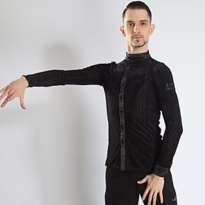 cheap Latin Dancewear-Latin Dance Top Ruching Men's Performance Long Sleeve Spandex