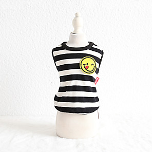 cheap Dog Clothes-Dog Costume Vest Dog Clothes Breathable Black Costume Beagle Bichon Frise Chihuahua Cotton Stripes Embroidered Simple Style Casual / Sporty XS S M L XL