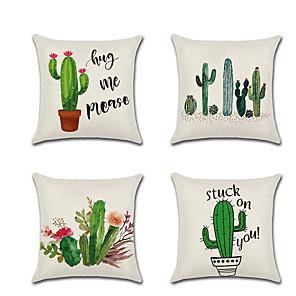cheap Pillow Covers-4 pcs Linen Pillow Cover Cactus Flowers Rustic Holiday Throw Pillow 45*45 cm
