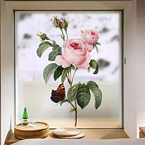 cheap Wall Stickers-Pink Peonies Window Film & Stickers Decoration Matte / Floral Floral PVC(PolyVinyl Chloride) Window Sticker / Matte / Door Sticker