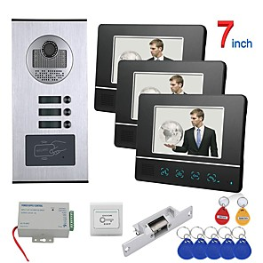 cheap Video Door Phone Systems-7 inch Touch Button 2 Apartment/Family Video Door Phone Intercom System RFID 1000TVL  Doorbell Camera NO Electric Strike Door Lock