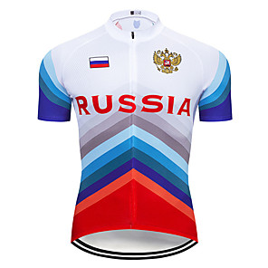 cheap Cycling Jerseys-21Grams Men's Short Sleeve Cycling Jersey Blue / White Russia National Flag Bike Jersey Top Mountain Bike MTB Road Bike Cycling UV Resistant Breathable Quick Dry Sports Clothing Apparel / Stretchy
