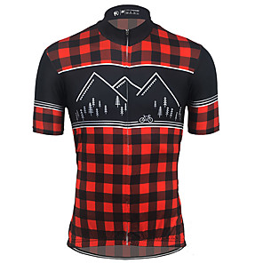 cheap Cycling Jerseys-21Grams Men's Short Sleeve Cycling Jersey Spandex Polyester Black / Red Bike Jersey Top Mountain Bike MTB Road Bike Cycling UV Resistant Breathable Quick Dry Sports Clothing Apparel / Stretchy