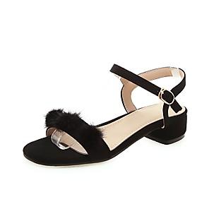 cheap Women's Sandals-Women's Sandals Chunky Heel Open Toe Buckle Suede Preppy / Minimalism Summer Black / Gray / Party & Evening