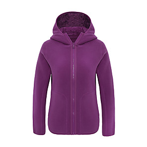 cheap Softshell, Fleece & Hiking Jackets-Women's Hiking Fleece Jacket Winter Outdoor Solid Color Windproof Fleece Lining Warm Comfortable Jacket Winter Fleece Jacket Top Fleece Single Slider Climbing Camping / Hiking / Caving Winter Sports