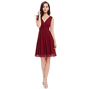 cheap Cocktail Dresses-A-Line Minimalist Red Wedding Guest Cocktail Party Dress V Neck Sleeveless Knee Length Chiffon with Pleats 2020