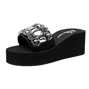 cheap Women's Sandals-Women's Slippers & Flip-Flops Wedge Heel Open Toe Rhinestone Polyester Classic / Vintage Walking Shoes Summer Black