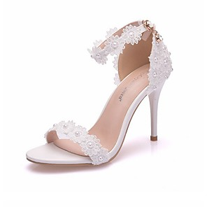 cheap Wedding Shoes-Women's Wedding Shoes Boho / Beach Stiletto Heel Open Toe PU Summer White