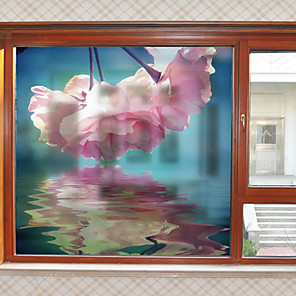 cheap Wall Stickers-Big Pink Flowers Pattern Matte Window Film Cling Vinyl Thermal-Insulation Privacy Protection Home Decor For Window Cabinet Door Sticker / Window Sticker
