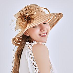 cheap Historical & Vintage Costumes-Queen Elizabeth Audrey Hepburn Retro Vintage Kentucky Derby Hat Fascinator Hat Women's Lace Organza Costume Hat Black / Camel / Beige Vintage Cosplay Party Party Evening