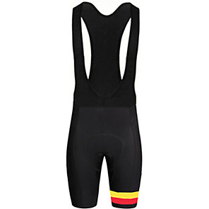 cheap Triathlon Clothing-21Grams Men's Cycling Bib Shorts Bike Bib Shorts Pants / Trousers Padded Shorts / Chamois Breathable Quick Dry Ultraviolet Resistant Sports Belgium National Flag Black / White Mountain Bike MTB Road