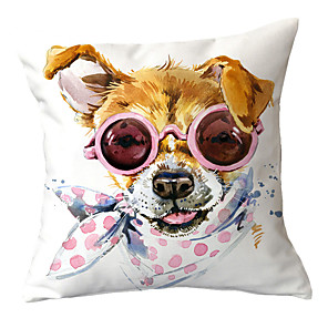 cheap Throw Pillow Covers-Set of 1 Polyester Pillow Cover Puppy Dog Print Modern Pillow Case Sofa Car Cushion Case Animal Home Plush Pillow Case