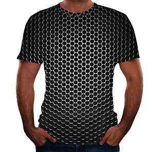 cheap Dog Clothes-Men's Daily Plus Size T-shirt Geometric 3D Graphic Short Sleeve Tops Basic Round Neck Black Purple Gold