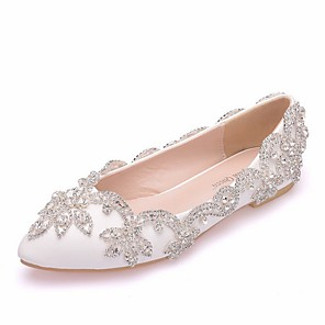 cheap Wedding Shoes-Women's Wedding Shoes Glitter Crystal Sequined Jeweled Flat Heel Pointed Toe PU Spring & Summer White