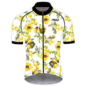 cheap Cycling Jerseys-21Grams Women's Short Sleeve Cycling Jersey Spandex Polyester Yellow Fruit Lemon Bike Jersey Top Mountain Bike MTB Road Bike Cycling UV Resistant Breathable Quick Dry Sports Clothing Apparel
