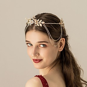 cheap Necklaces-Alloy Headpiece with Faux Pearl 1 Piece Wedding Headpiece