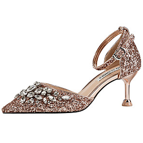 cheap Wedding Shoes-Women's Wedding Shoes Glitter Crystal Sequined Jeweled Spool Heel Pointed Toe Rhinestone / Sequin Synthetics Sweet / British Fall / Spring & Summer Wine / Pink / Champagne / Party & Evening