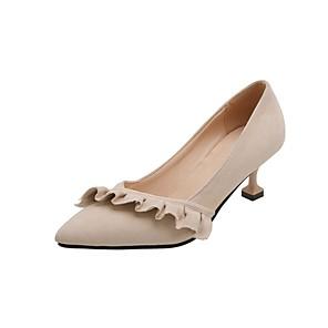 cheap Women's Heels-Women's Heels Kitten Heel Pointed Toe Stitching Lace Synthetics Spring &  Fall Black / Beige