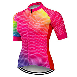 cheap Cycling Jerseys-21Grams Women's Short Sleeve Cycling Jersey Pink Geometic Argyle Bike Jersey Top Mountain Bike MTB Road Bike Cycling UV Resistant Breathable Quick Dry Sports Clothing Apparel / Stretchy / Race Fit