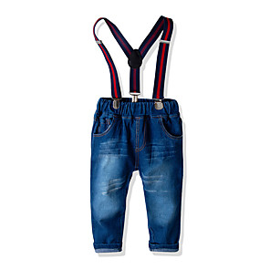 cheap Boys' Clothing Sets-Kids Toddler Boys' Basic Street chic Solid Colored Jeans Blue