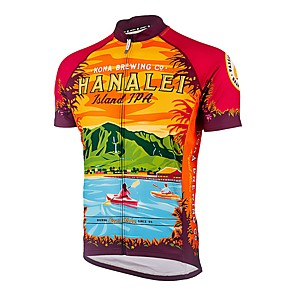 cheap Cycling Jerseys-21Grams Men's Short Sleeve Cycling Jersey Winter Red / Yellow Bike Jersey Top Mountain Bike MTB Road Bike Cycling UV Resistant Breathable Quick Dry Sports Clothing Apparel / Stretchy / Sweat-wicking