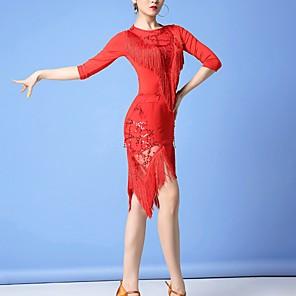 cheap Latin Dancewear-Latin Dance Skirts Tassel Women's Performance Polyester
