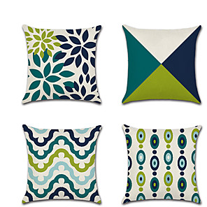 cheap Cushion Covers-Set of 4 Linen Pillow Cover Holiday  Modern Premium Color Block Geometic Throw Pillow 45*45 cm