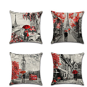 cheap Throw Pillow Covers-Set of 4 Linen Pillow Cover Lovers Wedding Romantic Valentine's Day Throw Pillow
