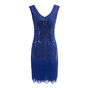 cheap Historical & Vintage Costumes-The Great Gatsby Charleston Dance Costumes Dress Tassel Paillette Women's Performance Sleeveless Terylene