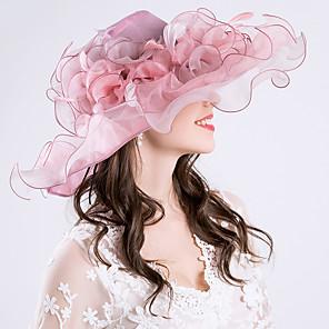 cheap Historical & Vintage Costumes-Queen Elizabeth Audrey Hepburn Retro Vintage Kentucky Derby Hat Fascinator Hat Women's Organza Costume Hat Light Purple Vintage Cosplay Party Party Evening