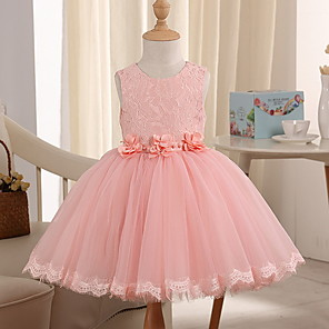 cheap Movie & TV Theme Costumes-Princess Knee Length Pageant Flower Girl Dresses - Polyester Sleeveless Jewel Neck with Beading