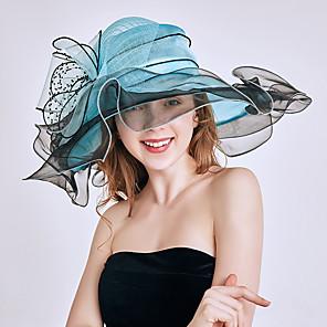 cheap Historical & Vintage Costumes-Queen Elizabeth Audrey Hepburn Retro Vintage Kentucky Derby Hat Fascinator Hat Women's Organza Costume Hat White / Orange / Burgundy Vintage Cosplay Party Party Evening