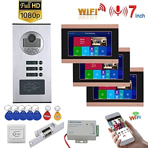 cheap Video Door Phone Systems-MOUNTAINONE SY709GHIDPENO3 WIFI / Wired & Wireless 7inch Record Wired Wifi Video Intercom 3 Apartments Doorphone System with  RFID 1080P Doorbell Camera NO Electric Strike Door Lock