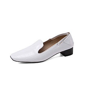 cheap Women's Boots-Women's Loafers & Slip-Ons Chunky Heel Square Toe Patent Leather Minimalism Spring &  Fall Black / Almond / White / Party & Evening