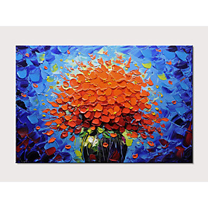 cheap Floral/Botanical Paintings-Oil Painting Hand Painted - Floral / Botanical Pop Art Modern Stretched Canvas