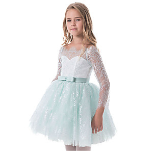 cheap Movie & TV Theme Costumes-Princess Dress Flower Girl Dress Girls' Movie Cosplay A-Line Slip Cosplay Green / Blue Dress Halloween Carnival Masquerade Lace Polyester