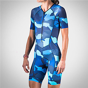 cheap Triathlon Clothing-21Grams Men's Women's Short Sleeve Triathlon Tri Suit Blue Camo / Camouflage Bike Clothing Suit UV Resistant Breathable Quick Dry Sweat-wicking Sports Camo / Camouflage Mountain Bike MTB Road Bike