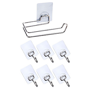 cheap Wall Stickers-Pieces Robe Hook Tissue Paper Holder Storage Rack Set Bathroom Accessories Kitchen Hook Strong Viscosity Adhesive Without Drilling Rustproof Traceless Self-adhesive 304# Stainless Steel 6hooks1tissu