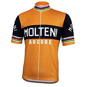 cheap Cycling Jerseys-21Grams Men's Short Sleeve Cycling Jersey Black / Orange Italy National Flag Bike Jersey Top Mountain Bike MTB Road Bike Cycling UV Resistant Breathable Quick Dry Sports Clothing Apparel / Stretchy