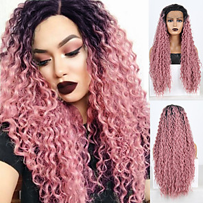 cheap Synthetic Lace Wigs-Synthetic Lace Front Wig Deep Curly Spiral Curl Free Part Lace Front Wig Pink Long Black / Pink Synthetic Hair 18-30 inch Women's Lace Heat Resistant Classic Pink / Natural Hairline