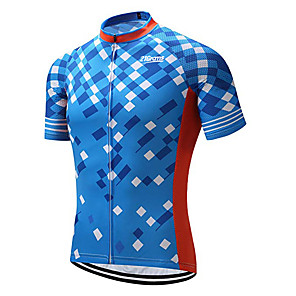 cheap Cycling Jerseys-21Grams Men's Short Sleeve Cycling Jersey Sky Blue Plaid / Checkered Geometic Bike Jersey Top Mountain Bike MTB Road Bike Cycling UV Resistant Breathable Quick Dry Sports Clothing Apparel / Stretchy