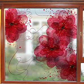 cheap Wall Stickers-Dream Flower Pattern Matte Window Film Cling Vinyl Thermal-Insulation Privacy Protection Home Decor For Window Cabinet Door Sticker / Window Sticker