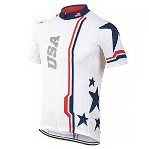cheap Cycling Jerseys-21Grams Men's Short Sleeve Cycling Jersey Spandex Polyester Blue / White American / USA National Flag Bike Jersey Top Mountain Bike MTB Road Bike Cycling UV Resistant Breathable Quick Dry Sports
